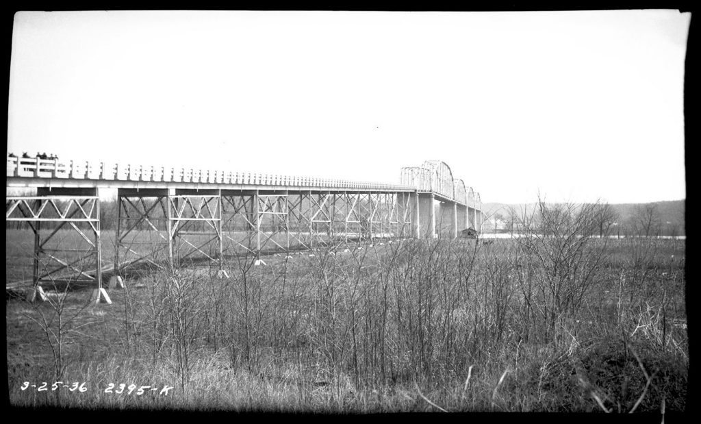 Eggners Ferry Bridge from 1936 before the creation of Kentucky Lake.