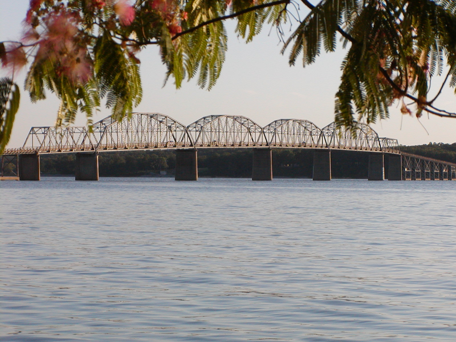 This 2002 photo of Eggners Ferry Bridge across Kentucky Lake shows the bridge before its destruction.