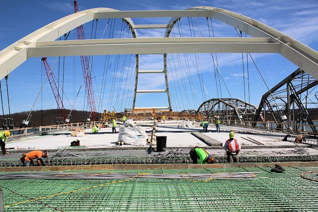 Crews work on the joints of the main span of the new Eggners Ferry Bridge in March 2016. Photo by Shawn Dunnaway.