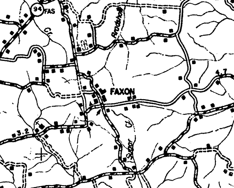 Section of Calloway County, KY map from 1937 showing Faxon.