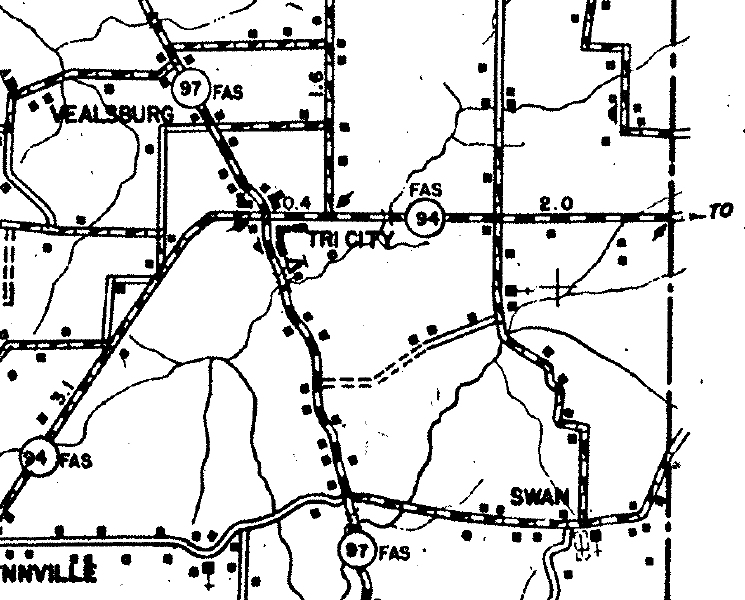 Map of Graves County, Kentucky from 1937 showing Tri City.