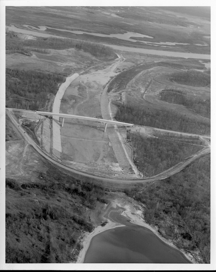The canal under construction, just north of present-day Land Between The Lakes. Kentucky Lake is in the bottom of the photo.