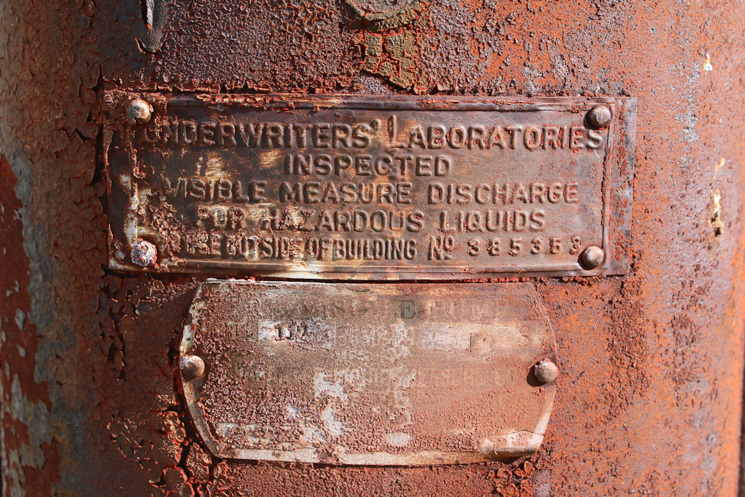 The old labels of the gas pump.