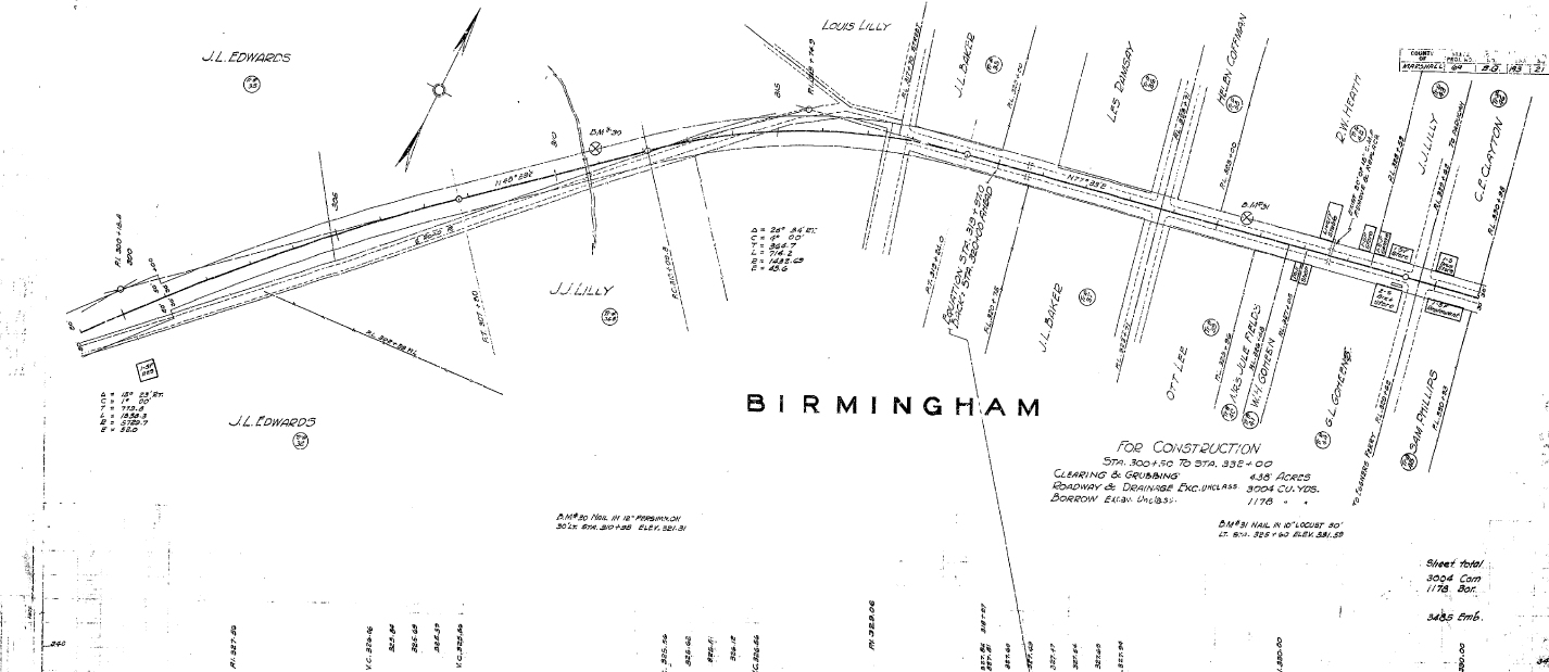 Detailed 1933 Map of Birmingham, KY